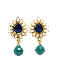 Aniika Contemporary Mughal Earrings - Blue & Green
