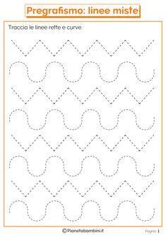 Trace the Dotted Lines Worksheets for Kids - Preschool and Kindergarten Preschool Writing, Preschool Learning Activities, Preschool Printables, Kindergarten Worksheets, Kids Learning, Autumn Activities, Alphabet Tracing Worksheets, Shapes Worksheets, Tracing Letters