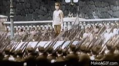 Emporor Hirohito reviews Imperial Japanese Army troops at the Imperial Palace, Tokyo, 1940.