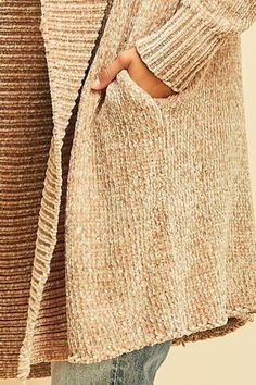 Entro Taupe Chenille Cardigan - Back Cropped Image Shawl Collar Cardigan, Summer Cardigan, Pocket Detail, Taupe, Flats, Pullover, Sweaters, Image, Fashion
