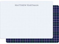 Personalized Blue Plaid Stationery