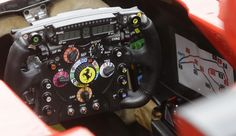 The steering wheel of Ferrari driver Fernando Alonso. Third free practice at the Spa-Francorchamps 2013.