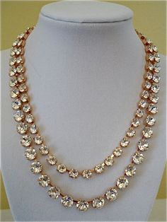 Two Row Swarovski Rose Gold Bridal Necklace with Clear Crystal