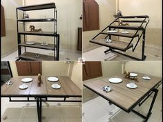 New Diy Table Design Space Saving Ideas Space Saving Dining Table, Foldable Dining Table, Space Saving Kitchen, Dining Table Design, Space Saving Furniture, Space Saving Shelves, Dining Tables, Dining Room, Folding Furniture