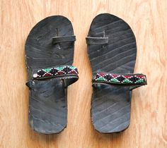 Recycled tire sandals.