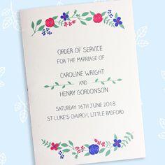 Floral design wedding order of service Wedding Order Of Service, Pressed Leaves, On Your Wedding Day, Wedding Stationery, Floral Design, Marriage, Cards, Handmade, Valentines Day Weddings