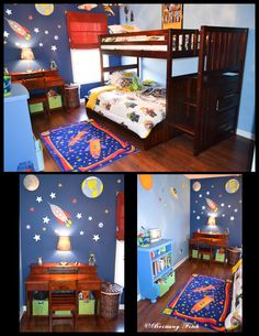 I like how one wall is light and the other is dark. S~ Kid's outer space theme bedroom