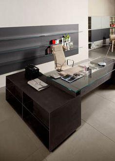 escritorio de director moderno de madera y vidrio MILANO by D. Moscheri Lo Scalzo  Gallotti