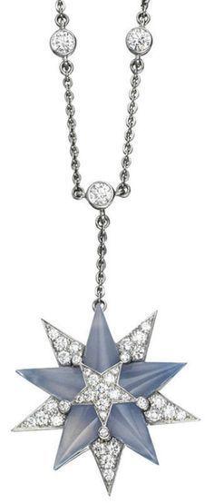 Tiffany & Co.   A chalcedony and diamond pendant necklace
