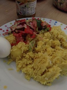 Pilau rice with a boiled egg and a side of beetroot salad ❤️❤️