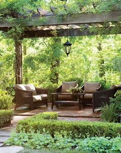 There are lots of pergola designs for you to choose from. First of all you have to decide where you are going to have your pergola and how much shade you want. Outdoor Pergola, Backyard Pergola, Outdoor Rooms, Backyard Landscaping, Outdoor Gardens, Terraced Landscaping, Pergola Shade, Pergola Kits, Pergola Ideas