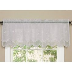 Commonwealth Home Fashions Hathaway Double Scalloped Valance, White, 54 x 17 Rod Pocket Curtains, Valance Curtains, Valances, Bathroom Curtains, Roll Blinds, White Valance, Kitchen Curtain Sets, Acoustic Panels, Soft Furnishings