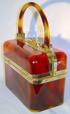 Vintage Genuine French Lucite Plastic 1960's Box Bag Purse Faux Tortoise  Shell #LaCassette #BoxPurse