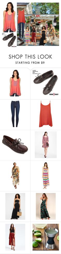 """""""Karen's Summer Backyard Party w/ Girlfriends: A Day of Drink and Gossip In Comfy Minnetonka Driving Mocs❤️👩🏽🍷🍸🗣👣☀️❤️"""" by chrisiggy ❤ liked on Polyvore featuring Minnetonka, Rock & Roll Cowgirl, 7 For All Mankind, WearAll, Brooks Brothers, Free People and OXO"""