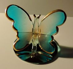 "Light Blue Frosted Glass Butterfly on Mirror Decorative Figurine 2"" Tall"