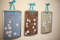 Great chore chart using Dollar Tree cookie sheets. Super simple to make and fun for kids to use. | dreawood.com