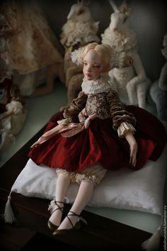 """Купить Подвижная кукла """"Софья"""" - бордовый, девочка, винтаж, кукла винтаж, подвижная кукла"""