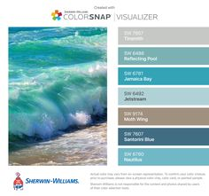 I found these colors with ColorSnap® Visualizer for iPhone by Sherwin-Williams: Tinsmith (SW Reflecting Pool (SW Jamaica Bay (SW Jetstream (SW Moth Wing (SW Santorini Blue (SW Nautilus (SW Coastal Paint Colors, Bedroom Paint Colors, Interior Paint Colors, Paint Colors For Home, Coastal Decor, Coastal Color Palettes, Beach House Colors, Beach House Decor, Colour Pallette