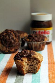 Muffins integrales de plátano y Nutella