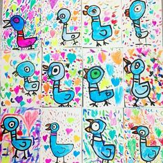 In the Art Room: Kindergarten Mo Willems Pigeons!