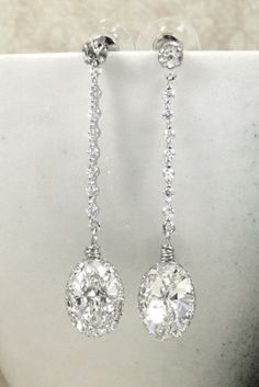I would love to have these on my wedding day! Padma Swarovski Oval Crystal Earrings Cubic
