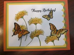 Reason to Smile and Papillon Potpourri. She glued 2 of the butterlies together, back to back, so that they look real with their wings popped up. Birthday Cards For Women, Happy Birthday Cards, Butterfly Cards, Flower Cards, Scrapbook Cards, Scrapbooking, Fall Cards, Cards For Friends, Tampons