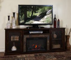 dCOR design West Lake 60 TV Stand with Electric Fireplace