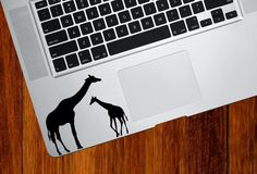 "TP - Giraffe Mom and Baby - Trackpad Vinyl Decal Sticker (3.5""w x 3""h) (Color Variations Available)Giraffe More Pins Like This At FOSTERGINGER @ Pinterest"