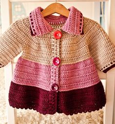Crochet pattern by Mon Petit Violon, Tiered JacketCrochet Tiered Jacket – super cute garment for your little one!The cardigan is seamless, worked top down. Made with worsted weight yarn and that's why works up pretty quickly. Crochet Baby Sweaters, Crochet Baby Cardigan, Crochet Coat, Crochet Baby Clothes, Cardigan Pattern, Jacket Pattern, Baby Knitting, Booties Crochet, Baby Patterns