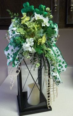 Shop for on Etsy, the place to express your creativity through the buying and selling of handmade and vintage goods. St Patrick's Day Decorations, Holiday Centerpieces, Table Centerpieces, St Pattys, St Patricks Day, Saint Patricks, St Paddys Day, Lanterns Decor, Luck Of The Irish