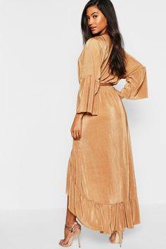 191cd9c1840 Plisse Wrap Front Ruffle Hem Maxi Dress