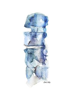 Anatomy Drawing Medical This painting is part of my blue spine series, one of my favorites. The painting portrays the vertebral column, but is painting is a loose and abstract Human Figure Drawing, Figure Drawing Reference, Anatomy Drawing, Anatomy Art, Human Anatomy, Watercolor Print, Watercolor Paintings, Medical Art, Medical Illustration