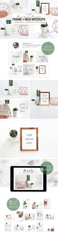 Product mock ups | White Mug mock up | Photo frame mock ups | Clean and bright mock ups for Instagram and products | cactus copper and white decor (Creative Market aff link)