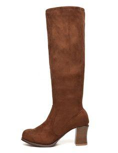 Simple Chunky Heel Nubuck Mid Calf Boots for Woman