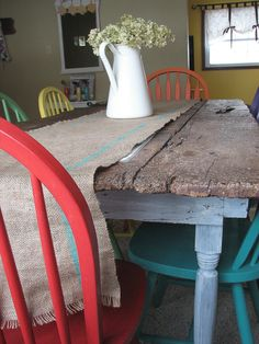 painted wood kitchen table
