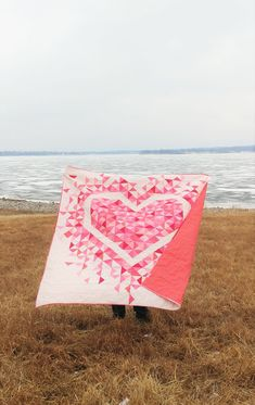 Exploding Heart Quilt Pattern by Slice of Pi Quilts | Fabric: Riley Blake Designs Confetti Cotton Chevron Quilt Pattern, Heart Quilt Pattern, Heart Patterns, Quilt Patterns, Arrow Quilt, Fabric Cutter, Vintage Sheets, Pink Fabric, Quilt Making