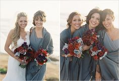 Dessy gray bridesmaid dresses, deep red and silver flowers and foliage, Oak and the Owl