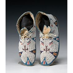 Sioux Beaded Buffalo Hide Moccasins, c.1890