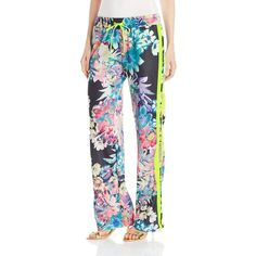 Juicy Couture Black Label Women's Rainforest Floral Tricot Wide Leg... (€59) ❤ liked on Polyvore featuring pants, wide leg pants, floral pants, juicy couture, floral print trousers and floral print wide leg pants