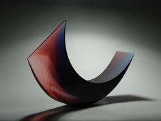 Galia Amsel 'Dusk' 2013 (cast gaffer steel blue, amethyst and clear glass ground polished sandblasted and acid etched texture, 680 x 350 x 150mm)