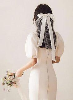 Bridal Looks, Bridal Style, Korean Wedding, Hair Ribbons, Civil Wedding, Wedding Veils, Lace Wedding, Bridal Headpieces, Bridal Hair Accessories