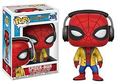 Funko Pop Movies SpiderMan Homecoming with Headphones Vinyl Figure. Rounding out the series comes your friendly neighborhood superhero Spider-Man. Complete with his yellow school jacket and headphones!. Stylized collectable stands 3 ¾ inches tall.
