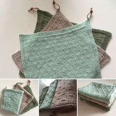 Strikkede køkkenklude / karklude Knitted Washcloths, Crochet Dishcloths, Knitted Blankets, Crochet Home, Crochet Gifts, Knit Crochet, Big Knit Blanket, Knitting Yarn, Crochet Projects