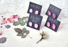 Botanical earrings. Pink rose earrings.earrings with real flower petals. Resin jewelry with rose. Oneflowerstory