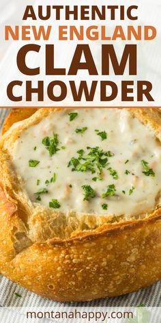 Clam Chowder Soup, Clam Chowder Recipes, Seafood Recipes, Clam Recipes, Asian Recipes, Homemade Clam Chowder, Seafood Dishes, Lunch Recipes, Crockpot Recipes