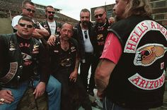 Sonny Barger, patriarch of the Hell's Angels, with some of his biker buddies. Barger has just released his memoirs, Hell's Angel, which can be ordered from his web site along with other merchandise. Sonny Barger, Biker Clubs, Motorcycle Clubs, Angels Logo, Hells Angels, Memoirs, Bad Boys, My Idol, Harley Davidson
