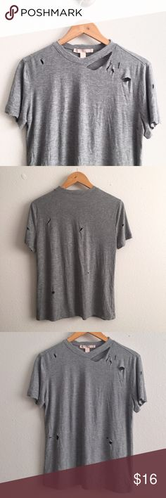 Soft Gray Distressed Tee Size L TAG // **bought from forever 21, brand is for visibility** Zara Tops