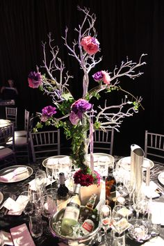 Silver tree centrepiece dressed in beautiful florals - Doltone House Jones Bay Wharf Pyrmont