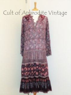 Vintage 70s Indian Ethnic Cotton GAUZE Phool Floral Empire Waist Hippie Boho Puff Sleeves Tiered Gypsy Midi DRESS