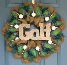 For the Golf Enthusiast Burlap and Deco Mesh by wreathswithclasses